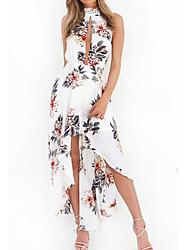 Women's Daily Cute Sexy Sheath Dress,Print Halter Midi Sleeveless Cotton Spring Summer Mid Rise Micro-elastic Medium