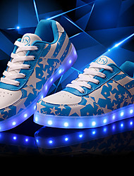 Sneakers Spring Summer Fall Light Up Shoes Comfort Light Soles Leatherette Outdoor Athletic Casual Low Heel LED Lace-up Walking