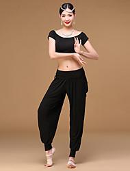 Danza del ventre Completi Da donna Addestramento Modal Plissettato 2 pezzi Maniche corte Cadente Top Pantaloni