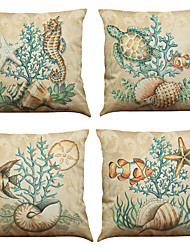 cheap -Set of 4 Marine biological pattern  Linen Pillowcase Sofa Home Decor Cushion Cover