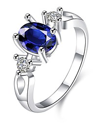 cheap -Ring Daily Casual Jewelry Zircon Copper Silver Plated Glass Ring 1pc,7 8 Blue