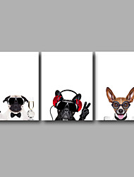 cheap -Stretched Canvas Print Three Panels Canvas Wall Decor Home Decoration Abstract Modern Cute Dogs Animals