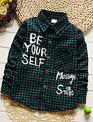 Boy's Fashion Going out Casual/Daily Holiday Print Patchwork Plaid Shirt Blouse Cotton Spring/Fall Long Sleeve Regular Children's Garments