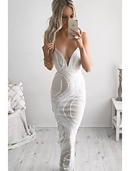 Women's Lace|Backless Going out Casual/Daily Simple Street chic Sheath Dress,Solid Strap Knee-length Sleeveless PU Spring Mid Rise Inelastic Medium