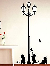 cheap -Popular Ancient Lamp Cats And Birds Wall Sticker Wall Mural Home Decor Room Kids Decals Wallpaper