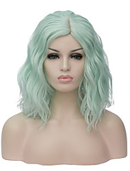 Fashion Party Fluorescent Green Wig Wavy Bob Haircut Halloween Party Wig For Women