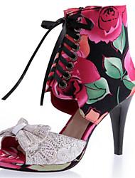 Sandálias-Gladiador Sapatos clube-Salto Agulha-Azul Vermelho-Seda Tecido-Social Casual Festas & Noite