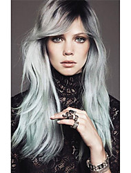 cheap -Long Silk Straight Black/silvery Grey Ombre Side Swept Bangs Synthetic Wigs