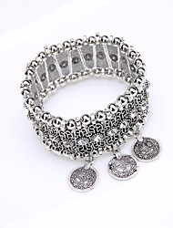 Bohemia National Wind Retro Beaded Bracelet Set Auger Carve Patterns Or Designs On Woodwork COINS Stretch Bracelet