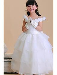 abordables -vestido de bola de la longitud del tobillo vestido de la muchacha de flor - organza cuello de la cuello sin mangas con la flor de ydn