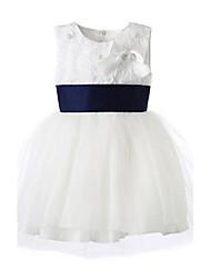 abordables -Robe Fille de Fleur Coton Toutes les Saisons Sans Manches Blanc