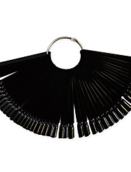 cheap -1set 50tips black nail art fan board manicure tools with metal round ring nail false tips for uv polish decoration