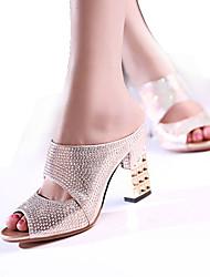 abordables -Mujer Sandalias Zapatos del club Sintético Primavera Verano Otoño Casual Vestido Fiesta y Noche Zapatos del club Tacón RobustoDorado
