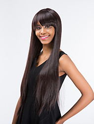 cheap -Human Hair Capless Wigs Straight With Bangs Side Part Brown Women's Capless Natural Wigs Long Very Long Synthetic Hair