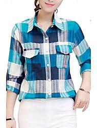 abordables -Mujer Camisa, Cuello Camisero A Cuadros