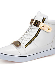 Men's Sneakers Spring Fall Comfort Microfibre Outdoor Flat Heel Sequin Lace-up Black White Black/White Walking