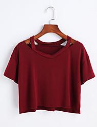 Damen Solide Niedlich Ausgehen T-shirt,Rundhalsausschnitt Frühling Sommer Kurzarm Baumwolle