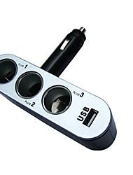 abordables -12v 24v 3 maneras 2 USB cargador de coche de triple encendedor de cigarrillos para el smartphone móvil de la cámara DVR del coche para GPS