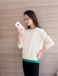 cheap -Women's Vintage Long Sleeves Pullover - Mixed Color, Modern Style Stand
