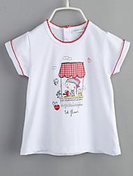 billige -Baby Pige T-shirt Daglig Bomuld Sommer Stribet Hvid