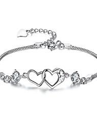 Women's Chain Bracelet Crystal Zircon Alloy Fashion Heart White Purple Jewelry 1pc