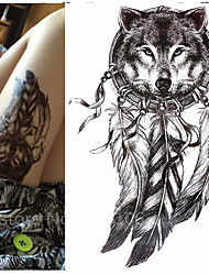 cheap -1 pcs   Wolf with Feather 21x15cm Cool Beauty Tattoo Waterproof Temporary Tattoo Stickers