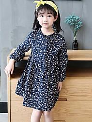 Girls Fashion Spring Han Edition Backing Screen Printing Flowers Fresh Long-Sleeved Dress