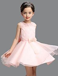 vestito dalla ragazza di fiore di lunghezza del ginocchio dell'abito di sfera - collo di gemme di organza senza manicotto da ydn