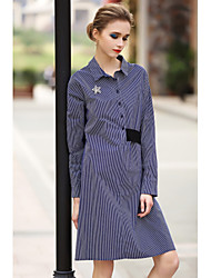 BLUEOXY Women's Fine Stripe Going out Casual/Daily Holiday Simple Loose Dress,Round Neck Above Knee Long Sleeve Cotton Blue Spring Low Rise Inelastic
