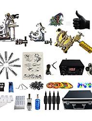 abordables -BaseKey Machine à tatouer Kit de tatouage professionnel - 3 pcs Machines de tatouage Source d'alimentation LED Boîtier Inclus 2 x Machine à tatouer en acier pour le traçage et l'ombrage / 1 machine