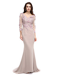 Sheath / Column V-neck Court Train Chiffon Formal Evening Dress with Beading Appliques Flower(s) by TS Couture®