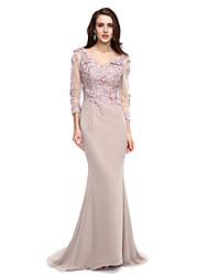 A tubino A V Strascico di corte Chiffon Serata formale Vestito con Perline Con applique Fiore (i) di TS Couture®