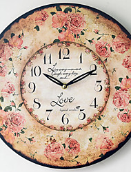 Traditional Country Antique Retro Holiday Family Romantic Rose Wall ClockNovelty Wood Plastic 35*35 Indoor/Outdoor Indoor Clock