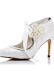 cheap -Women's Shoes Tulle Spring Summer Comfort Heels Stiletto Heel Closed Toe for Wedding Party & Evening Dress Ivory