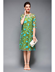 cheap -Women's Holiday / Beach Boho Shift Dress - Floral / Spring / Embroidery