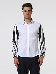 Men's Going out Casual/Daily Formal Simple Shirt,Print Shirt Collar Long Sleeve Red White Black Cotton