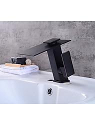 Moderna Conjunto Central Cascata with  Válvula Cerâmica Monocomando e Uma Abertura for  Bronze Polido a Óleo , Torneira pia do banheiro