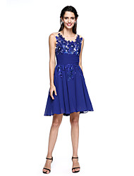 A-Line Fit & Flare Illusion Neckline Knee Length Chiffon Cocktail Party Dress with Appliques by TS Couture®