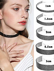 Choker Necklaces Rhinestone Round Imitation Diamond Alloy Basic Unique Design Tattoo Style Luxury Jewelry For Wedding Party Special