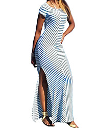 Women's Fine Stripe Casual/Daily Street chic Sheath Dress,Striped Round Neck Maxi Short Sleeve Polyester Blue Summer Mid Rise Micro-elastic