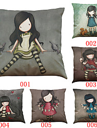 cheap -Set of 6 Lonely girl pattern   Linen Pillowcase Sofa Home Decor Cushion Cover (18*18inch)