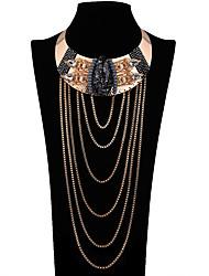 Colliers Déclaration Forme de Fleur Alliage euroaméricains Noir Bijoux Pour Mariage Soirée Anniversaire Quotidien 1pc
