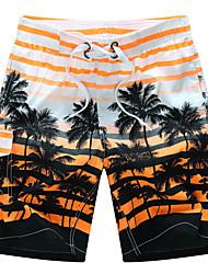 Недорогие -Муж. Классический / Пляжный стиль / тропический Большие размеры Пляж Свободный силуэт / Шорты Брюки - Полоски Пэчворк Лето Оранжевый Желтый Синий M L XL