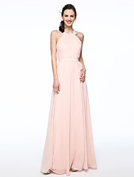 cheap -A-Line Jewel Neck Cross-Front Floor Length Chiffon Bridesmaid Dress with Sash / Ribbon Pleats by LAN TING BRIDE®