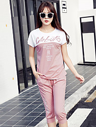Sign Korean summer sports suit women large size loose short-sleeved two-piece pant casual sportswear jogging