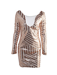 cheap -Women's Club Street chic Bodycon Dress - Patchwork Sequins / Mesh / Spring / Fall