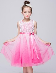 cheap -A-Line Knee Length Flower Girl Dress - Organza Sleeveless Jewel Neck with Beading by YDN