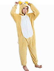 Kigurumi Pajamas Bear Costume Yellow Flannel Cosplay Costumes Leotard / Onesie Cosplay Festival / Holiday Animal Sleepwear Halloween
