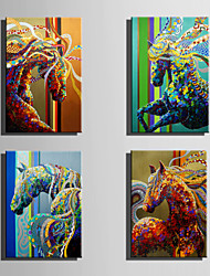 E-HOME Stretched Canvas Art Beautiful Colored  Horses Decoration Painting One Pcs