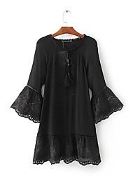 Largo Swing Camicia Vestito Da donna-Per uscire Casual Semplice Moda città Tinta unita Rotonda Maxi Medio Manica lunga Seta Cotone